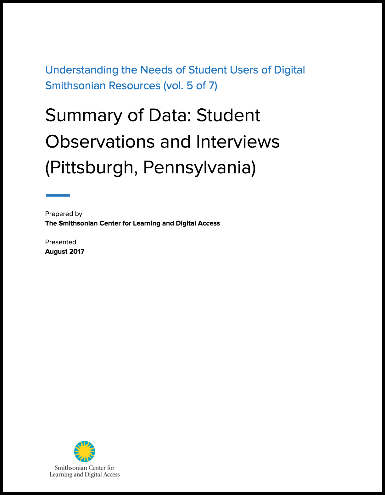Summary of Data: Student Observations and Interviews (Pittsburgh, Pennsylvania)