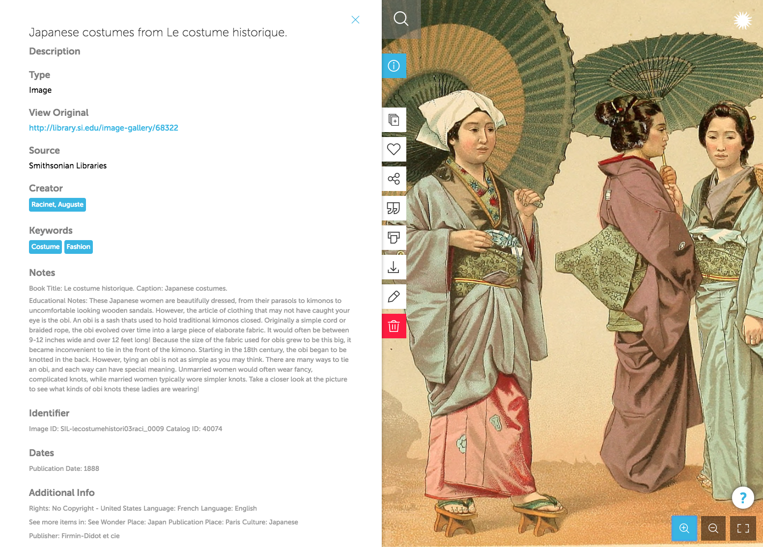 "The metadata from Japanese costumes from Le costume historique, from Smithsonian Libraries, contains ""Educational Notes,"" that include all the elements teachers want: detailed description, historical and cultural contexts, and the significance of the resource."