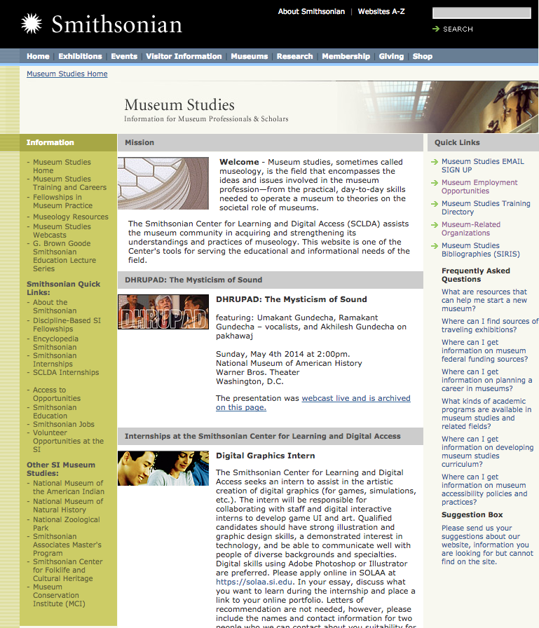 Screenshot of museumstudies.si.edu