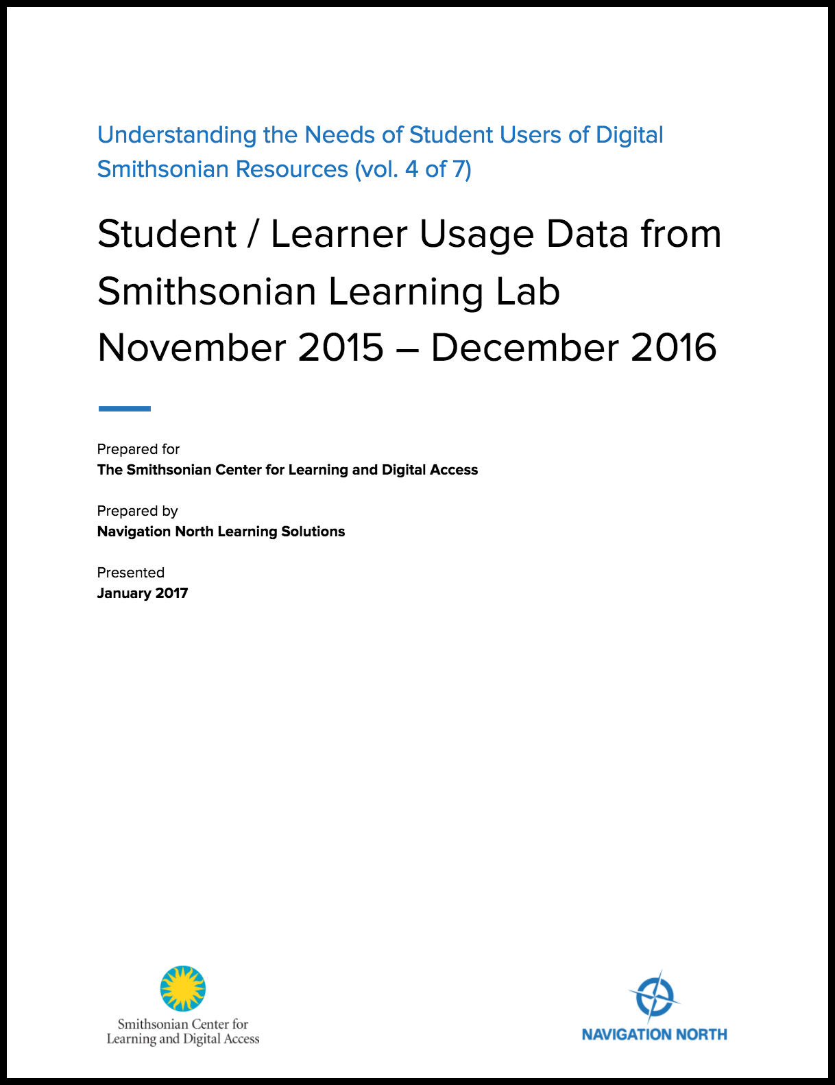 Student / Learner Usage Data from Smithsonian Learning Lab (November 2015 – December 2016)