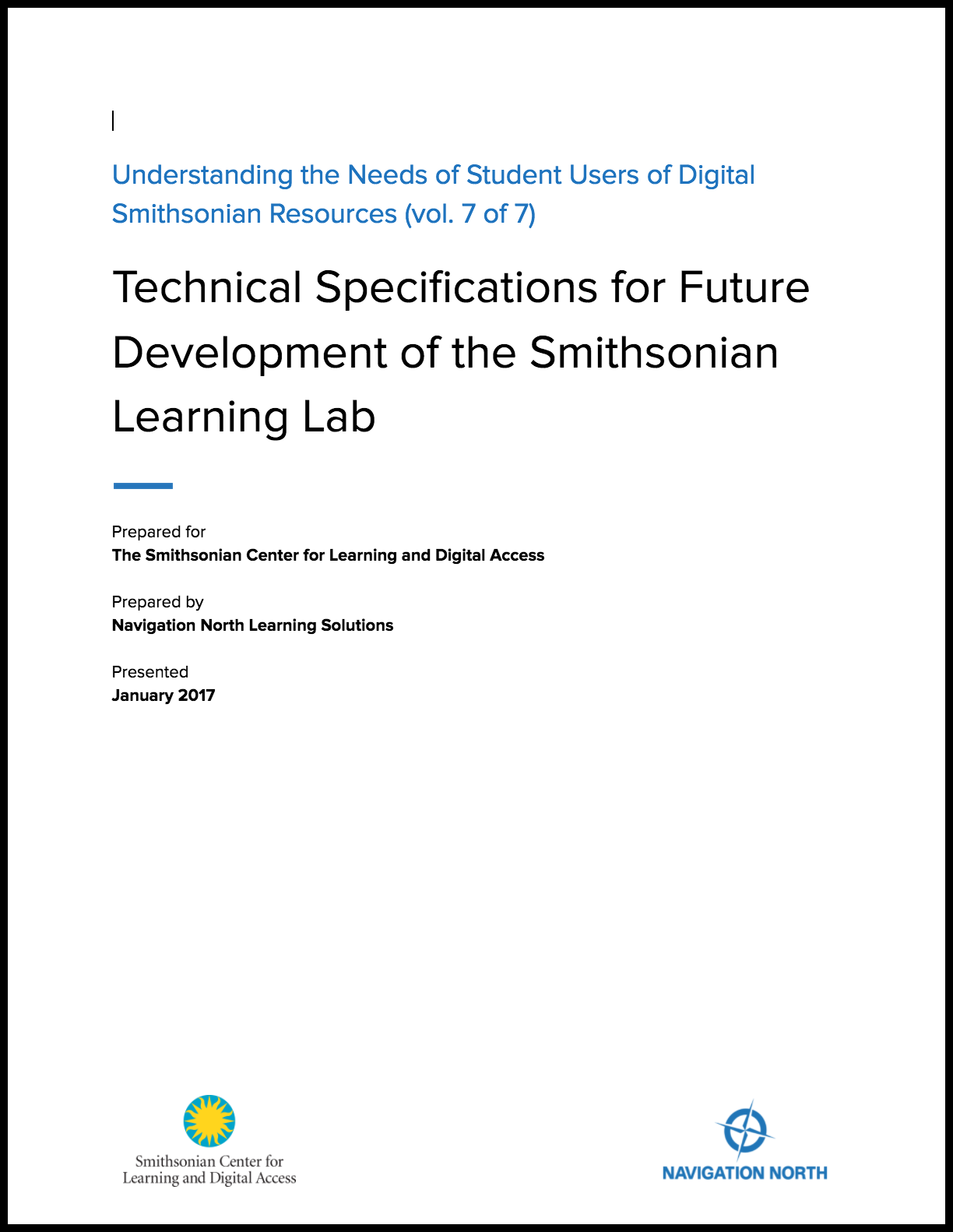 Technical Specifications for Future Development of the Smithsonian Learning Lab