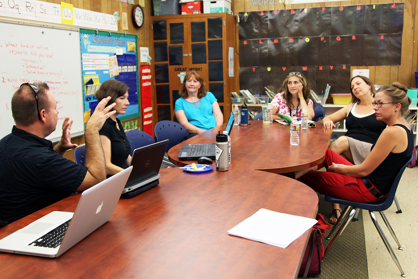 Teachers participate in a focus group