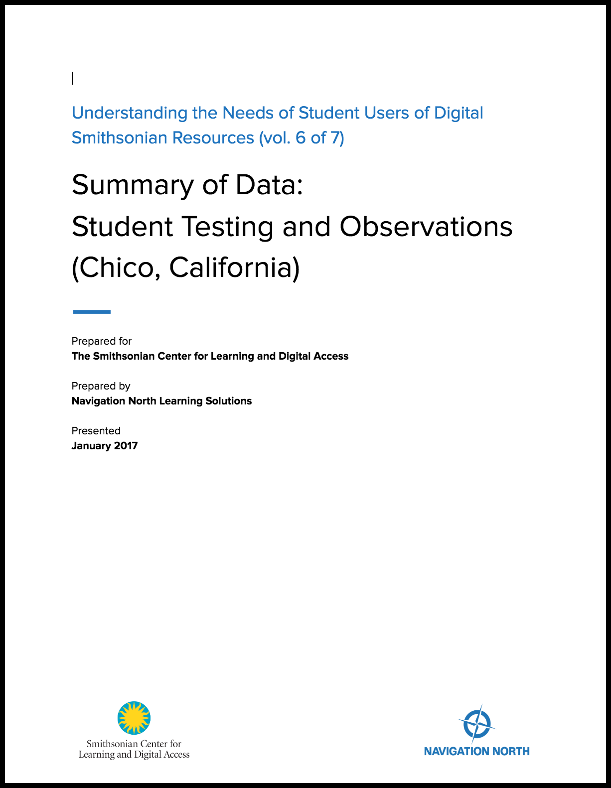 Summary of Data: Student Testing and Observations Chico, California