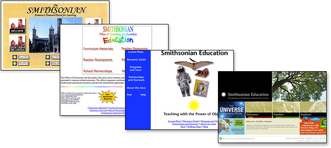 Evolution of Smithsonian Education websites from 1995 to 2003